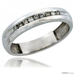 10k White Gold Men's Diamond Ring Band w/ 0.16 Carat Brilliant Cut Diamonds, 3/16 in. (5mm) wide