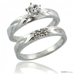 10k White Gold 2-Piece Diamond Engagement Ring Band Set w/ 0.11 Carat Brilliant Cut Diamonds, 1/8 in. (3.5mm) wide