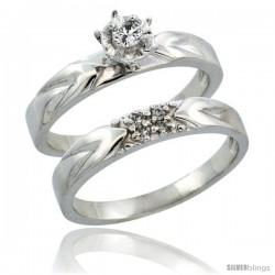 10k White Gold 2-Piece Diamond Engagement Ring Band Set w/ 0.11 Carat Brilliant Cut Diamonds, 1/8 in. (3.5mm) wide