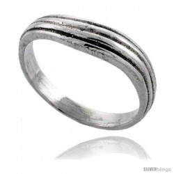 Sterling Silver Wavy Wedding Band Ring 3/16 in wide