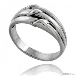 Sterling Silver Grooved Knot Ring 3/8 wide
