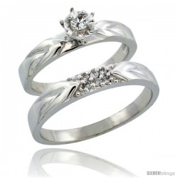 10k White Gold 2-Piece Diamond Ring Band Set w/ Rhodium Accent ( Engagement Ring & Man's Wedding Band ), w/ 0.13 Carat