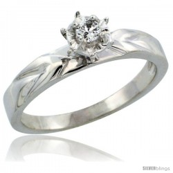 10k White Gold Diamond Engagement Ring w/ 0.07 Carat Brilliant Cut Diamonds, 1/8 in. (3.5mm) wide