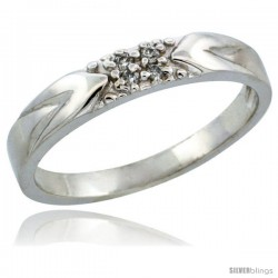 10k White Gold Ladies' Diamond Ring Band w/ 0.04 Carat Brilliant Cut Diamonds, 1/8 in. (3.5mm) wide