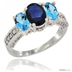 14k White Gold Ladies Oval Natural Blue Sapphire 3-Stone Ring with Swiss Blue Topaz Sides Diamond Accent