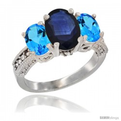 14K White Gold Ladies 3-Stone Oval Natural Blue Sapphire Ring with Swiss Blue Topaz Sides Diamond Accent