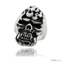 Surgical Steel Biker Skull Ring on Flames 1 1/4 in wide