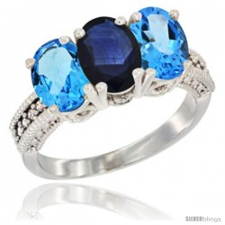 14K White Gold Natural Blue Sapphire & Swiss Blue Topaz Sides Ring 3-Stone 7x5 mm Oval Diamond Accent