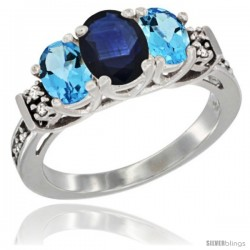 14K White Gold Natural Blue Sapphire & Swiss Blue Topaz Ring 3-Stone Oval with Diamond Accent