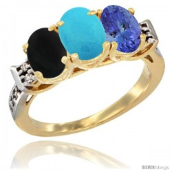 10K Yellow Gold Natural Black Onyx, Turquoise & Tanzanite Ring 3-Stone Oval 7x5 mm Diamond Accent