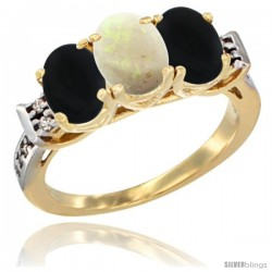 10K Yellow Gold Natural Opal & Black Onyx Sides Ring 3-Stone Oval 7x5 mm Diamond Accent