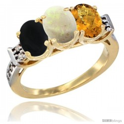 10K Yellow Gold Natural Black Onyx, Opal & Whisky Quartz Ring 3-Stone Oval 7x5 mm Diamond Accent
