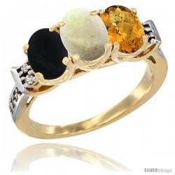 10K Yellow Gold Natural Black Onyx, Opal & Whisky Quartz Ring 3-Stone Oval 7x5 mm Diamond Accent