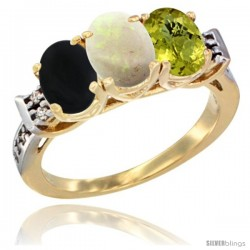 10K Yellow Gold Natural Black Onyx, Opal & Lemon Quartz Ring 3-Stone Oval 7x5 mm Diamond Accent