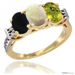 10K Yellow Gold Natural Black Onyx, Opal & Lemon Quartz Ring 3-Stone Oval 7x5 mm Diamond Accent