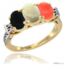 10K Yellow Gold Natural Black Onyx, Opal & Coral Ring 3-Stone Oval 7x5 mm Diamond Accent