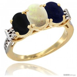 10K Yellow Gold Natural Black Onyx, Opal & Lapis Ring 3-Stone Oval 7x5 mm Diamond Accent