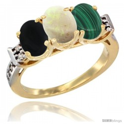 10K Yellow Gold Natural Black Onyx, Opal & Malachite Ring 3-Stone Oval 7x5 mm Diamond Accent