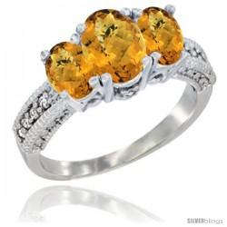 10K White Gold Ladies Oval Natural Whisky Quartz 3-Stone Ring Diamond Accent