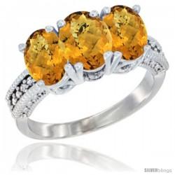 10K White Gold Natural Whisky Quartz Ring 3-Stone Oval 7x5 mm Diamond Accent