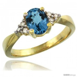 14k Yellow Gold Ladies Natural London Blue Topaz Ring oval 7x5 Stone Diamond Accent -Style Cy405168