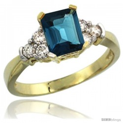 14k Yellow Gold Ladies Natural London Blue Topaz Ring Emerald-shape 7x5 Stone Diamond Accent