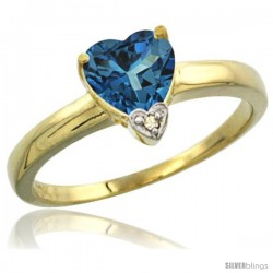 14K Yellow Gold Natural London Blue Topaz Heart-shape 7x7 Stone Diamond Accent