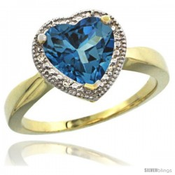 14k Yellow Gold Ladies Natural London Blue Topaz Ring Heart-shape 8x8 Stone Diamond Accent