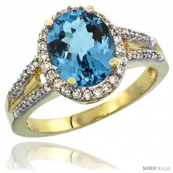 14k Yellow Gold Ladies Natural London Blue Topaz Ring oval 10x8 Stone Diamond Accent