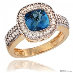 14k Yellow Gold Ladies Natural London Blue Topaz Ring Cushion-cut 3.5 ct. 7x7 Stone Diamond Accent