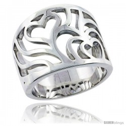 Sterling Silver Cascading Hearts Cigar Band Ring Flawless finish 5/8 in wide