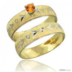 10k Gold Ladies' 2-Piece 0.25 Carat Orange Sapphire Engagement Ring Set Diamond-cut Pattern Rhodium Accent, -Style 10y507e2