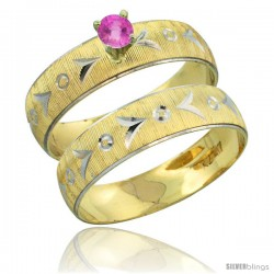 10k Gold Ladies' 2-Piece 0.25 Carat Pink Sapphire Engagement Ring Set Diamond-cut Pattern Rhodium Accent, 3/16 -Style 10y507e2