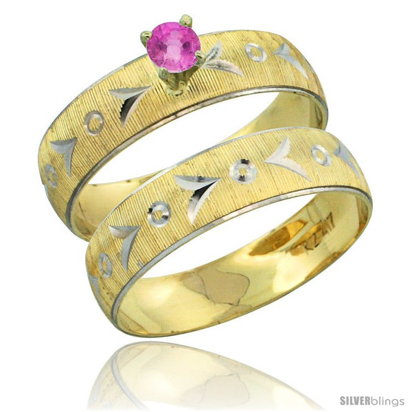 https://www.silverblings.com/31505-thickbox_default/10k-gold-ladies-2-piece-0-25-carat-pink-sapphire-engagement-ring-set-diamond-cut-pattern-rhodium-accent-3-16-style-10y507e2.jpg