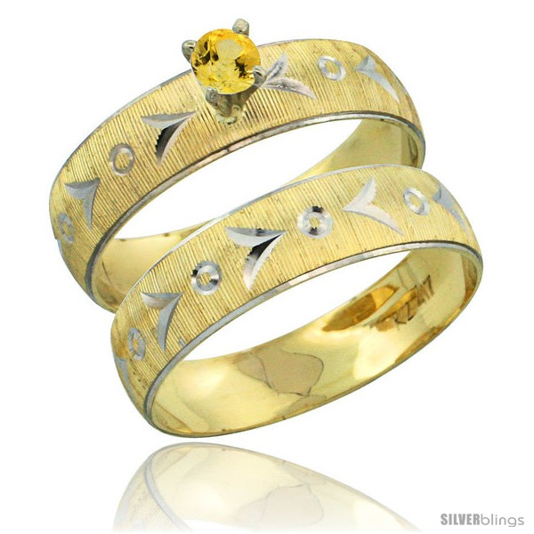 https://www.silverblings.com/31513-thickbox_default/10k-gold-ladies-2-piece-0-25-carat-yellow-sapphire-engagement-ring-set-diamond-cut-pattern-rhodium-accent-style-10y507e2.jpg