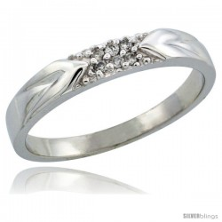 10k White Gold Men's Diamond Ring Band w/ 0.06 Carat Brilliant Cut Diamonds, 1/8 in. (3.5mm) wide
