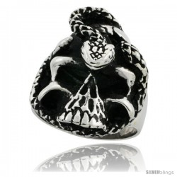 Surgical Steel Biker Skull Ring with Snake 1 3/16 in