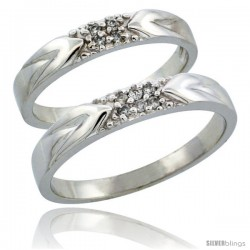 10k White Gold 2-Piece His (3.5mm) & Hers (3.5mm) Diamond Wedding Ring Band Set w/ 0.10 Carat Brilliant Cut Diamonds