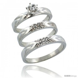 10k White Gold 3-Piece Trio His (3.5mm) & Hers (3.5mm) Diamond Wedding Ring Band Set w/ 0.17 Carat Brilliant Cut Diamonds