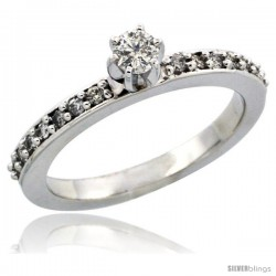 10k White Gold Diamond Engagement Ring w/ 0.34 Carat Brilliant Cut Diamonds, 3/32 in. (2mm) wide