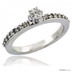 10k White Gold Diamond Engagement Ring w/ 0.34 Carat Brilliant Cut Diamonds, 3/32 in. (2mm) wide