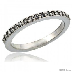 10k White Gold Ladies' Diamond Ring Band w/ 0.20 Carat Brilliant Cut Diamonds, 3/32 in. (2mm) wide