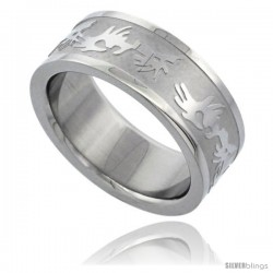 Surgical Steel 8mm Tribal Design Ring Wedding Band -Style Rss11