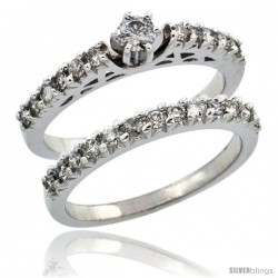 10k White Gold 2-Piece Diamond Engagement Ring Band Set w/ 0.72 Carat Brilliant Cut Diamonds, 3/32 in. (2.5mm) wide