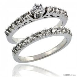 10k White Gold 2-Piece Diamond Engagement Ring Band Set w/ 0.72 Carat Brilliant Cut Diamonds, 3/32 in. (2.5mm) wide