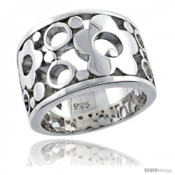 Sterling Silver Bubbles & Flower Ring Flawless finish, 1/2 in wide