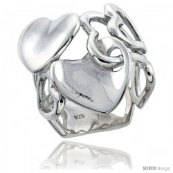 Sterling Silver Interlocking Hearts Flawless finish 15/16 in wide