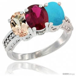 14K White Gold Natural Morganite, Ruby & Turquoise Ring 3-Stone Oval 7x5 mm Diamond Accent