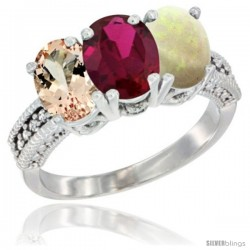 14K White Gold Natural Morganite, Ruby & Opal Ring 3-Stone Oval 7x5 mm Diamond Accent