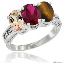 14K White Gold Natural Morganite, Ruby & Tiger Eye Ring 3-Stone Oval 7x5 mm Diamond Accent